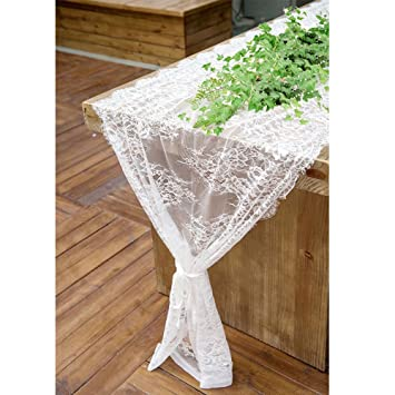 Ourwarm 28 X 120 Inches White Lace Table Runner Rustic Wedding Reception Table Decor Boho Party Supplies