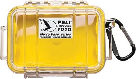 PELI 1010 Cajita estanca IP67 para guardar pequeños accessorios como llaves y tarjetas SD en actividades al aire libre, 0,3L de capacidad, fabricada en EE.UU., color amarillo/transparente: Amazon.es: Electrónica