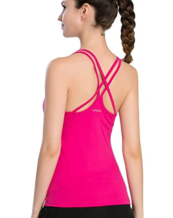 015ed8410f Campeak Women s Solid Strap Cami with Built in Shelf Bra Workout Sport Camisole  Tank Top (