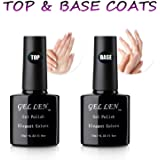 Gellen Top Coat And Base Coat for Gel Nail Polish - Long lasting Shine Finish Nail Gel