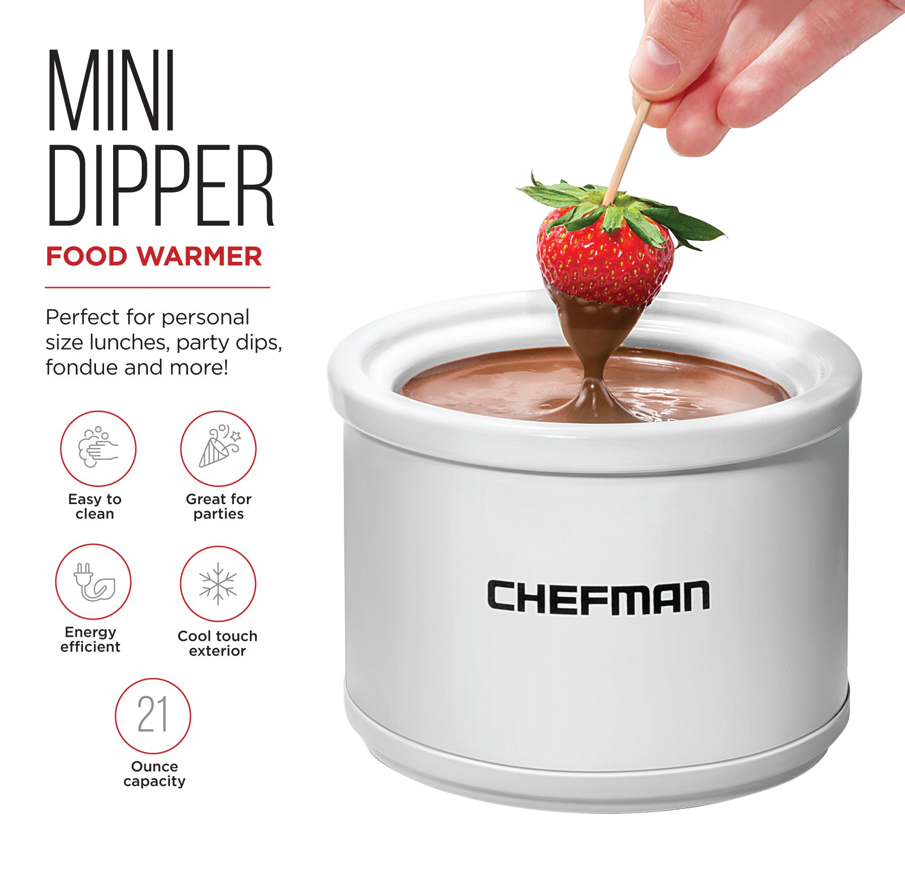 Chefman Mini Dipper Fondue Maker Food Warmer, Extra Small, 21 oz, White by Chefman (Image #5)