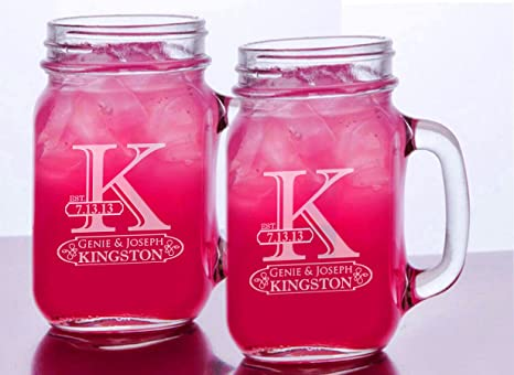 amazon com initial mr mrs set of 2 personalized mason jars drinking