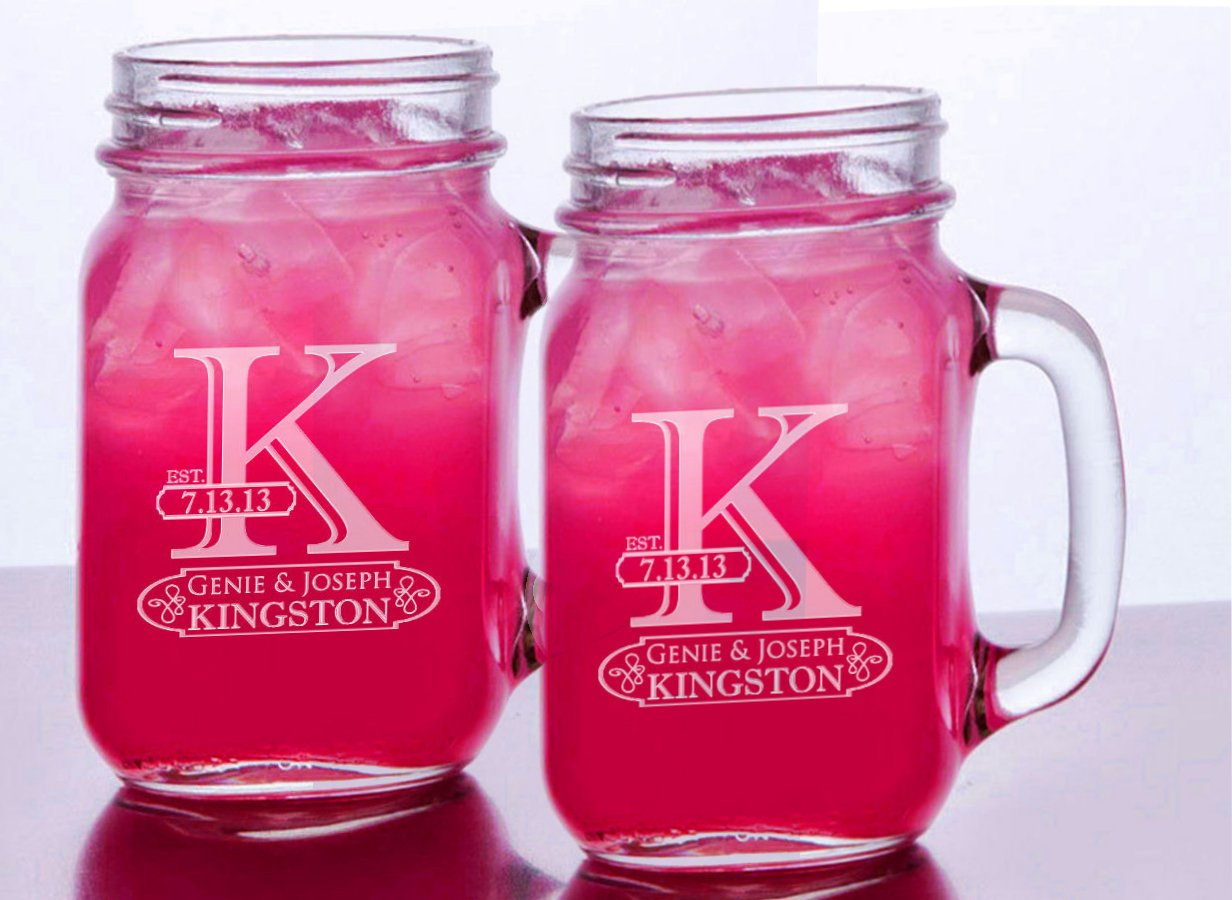 Initial Mr Mrs Set of 2 Personalized Mason Jars Drinking Mugs with Handle Personalized Custom Etched with Name and Date for Wedding, Engagement Anniversary Bridal Party Gift of Favor for Newlyweds Couple Etched Laser Engraved His and Hers Couple Gift Idea by Custom-Engraved-Glasses-by-StockingFactory (Image #1)