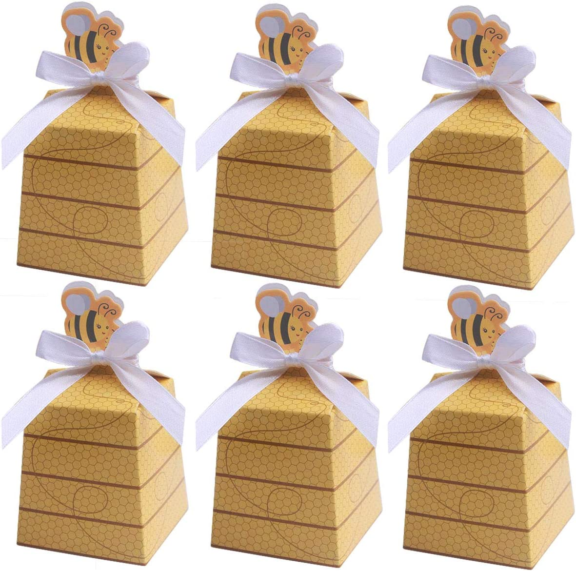 MeiMeiDa 60 Pack Bumble Bee Candy Boxes Treat Boxes Paper Beehive Gift Box with Ribbon for Bee Party Decoration Bee Birthday Baby Shower Favors Supplies
