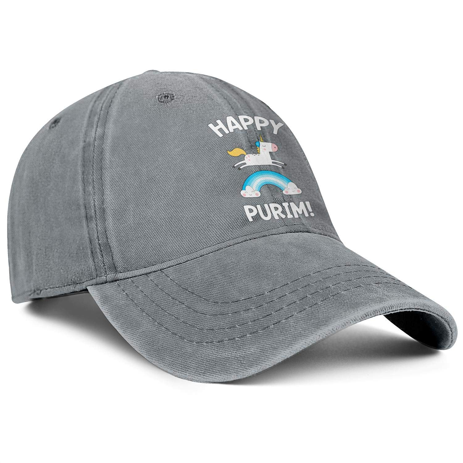 Happy Purim Funny Unicorn Costume Rainbow Gift Unisex Baseball Cap Fitted Sun Caps Adjustable Trucker Caps Dad-Hat