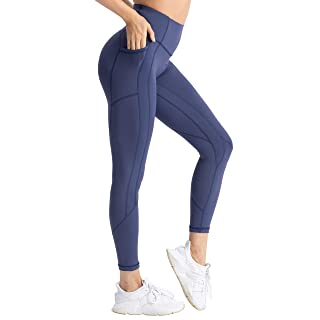 Hopgo Women's High Waisted Workout Yoga Pants with Pockets Tummy Control Running Leggings 4 Way Stretch Twilight Blue US L