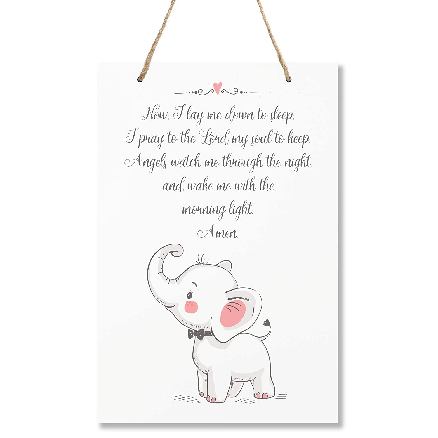 """Hallways Baby/'s Boys and Girls Room LifeSong Milestones Elephant Wall Decor Decorations Signs for Kids Toddlers Size 8/"""" x 12/"""" Proudly Made in USA and The Child Grew White Bedroom Nursery"""
