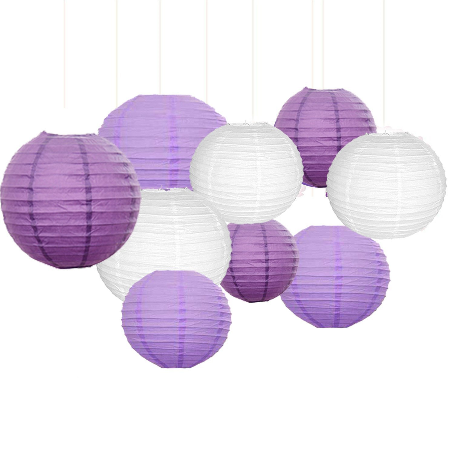 Sopeace 17 PCS 8'' 10'' Lavender Purple Pink White Tissue Paper Pom Pom Flowers and Paper Lanterns Party Decoration by Sopeace (Image #2)