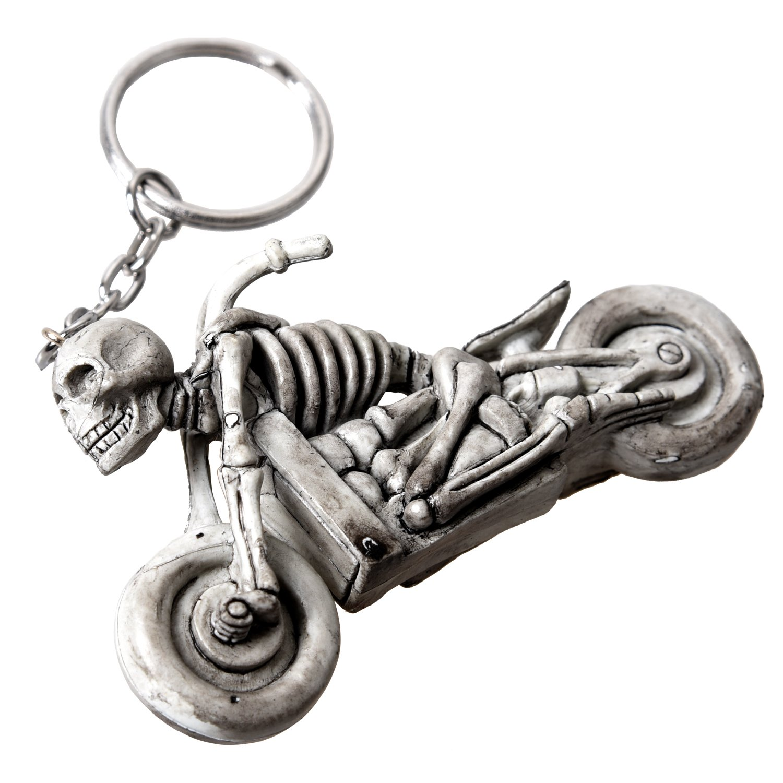 SODIAL R Porte-cles Pendentif crane en moto Decoration cool