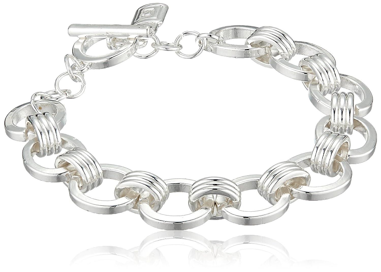 b3a375e689a53 Chaps Women's Chain Link Toggle Flex Link Bracelet, Silver