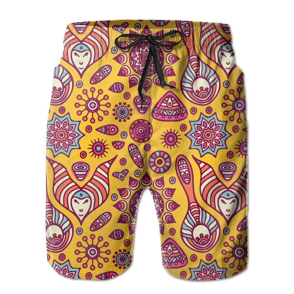 Jadetian Indian Ethnic Pattern Mens Quick Dry Swim Trunk Novelty Beach Shorts