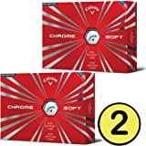 Callaway 2016 Chrome Soft Golf Balls (2 or 3 or 6 Dozen), (White or Yellow or Truvis Pattern)