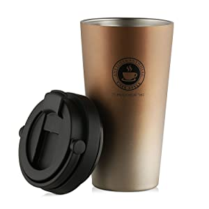 SEPT MIRACLE Coffee Travel Mug with Handle Coffee Mug, Pilsner Beer Glass, Iced Tea or Water Cup, Leakproof Double Walled Vacuum Insulated Stainless Steel with BPA Free[500ml] (gold mug)