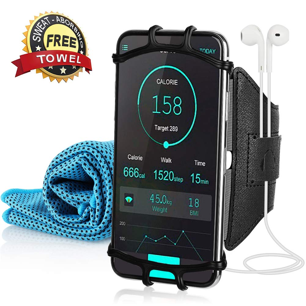 180° Rotatable Running Armband 31.5'' x 11.8'' Cooling Towel, Super Phone Holder Towel Running, Jogging, Cycling, Training, Arm Package fit 4-6 inch Mobile Phone NAVESTAR