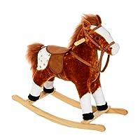 homcom Cavallo a Dondolo Legno con Suono Animale Regalo Giocattolo per i Bambini 74 x 28 x 65cm Marrone