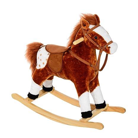 Cavallo A Dondolo Foppapedretti.Homcom Cavallo A Dondolo Legno Con Suono Animale Regalo Giocattolo Per I Bambini 74 X 28 X 65cm Marrone