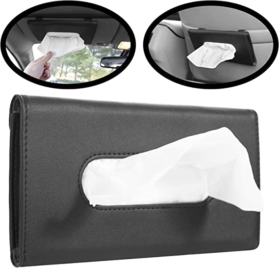 Sun Visor Napkin Container with Metal Clip Red PU Leather Tissue Box Holder for Car Free Refill Paper for Door Side//Seat Back//Car Visor CLEESINK Car Tissue Holder Visor