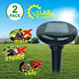 LOMEREY 2 Pack Sonic Mole Repellent Solar Powered Repels Mole Gopher Vole in Lawn Yard Garden Rodent Repellent Ultrasonic Pest Control Products