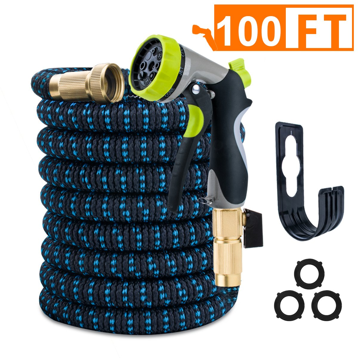 VILUAR Expandable 100ft Garden Hose Lightweight Expandable Water Hose, Durable Double Latex Core, Solid Brass Fittings, 8 function metal spray nozzle, 3 Extra Rubber Gaskets