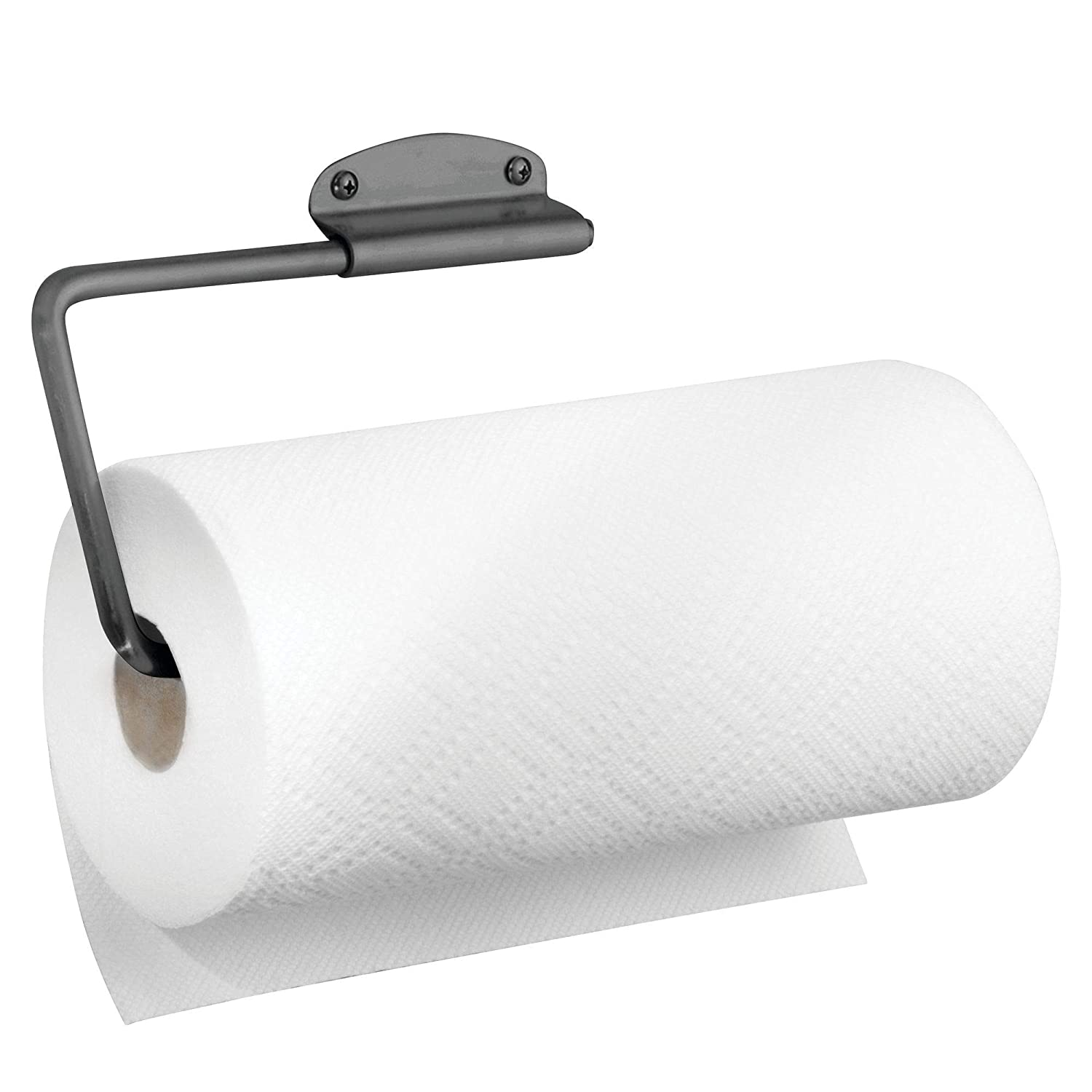 mDesign Metal Wall Mount Paper Towel Holder & Dispenser, Mounts to Walls or Under Cabinets - for Kitchen, Pantry, Utility Room, Laundry and Garage Storage - Holds Jumbo Rolls - Graphite Gray
