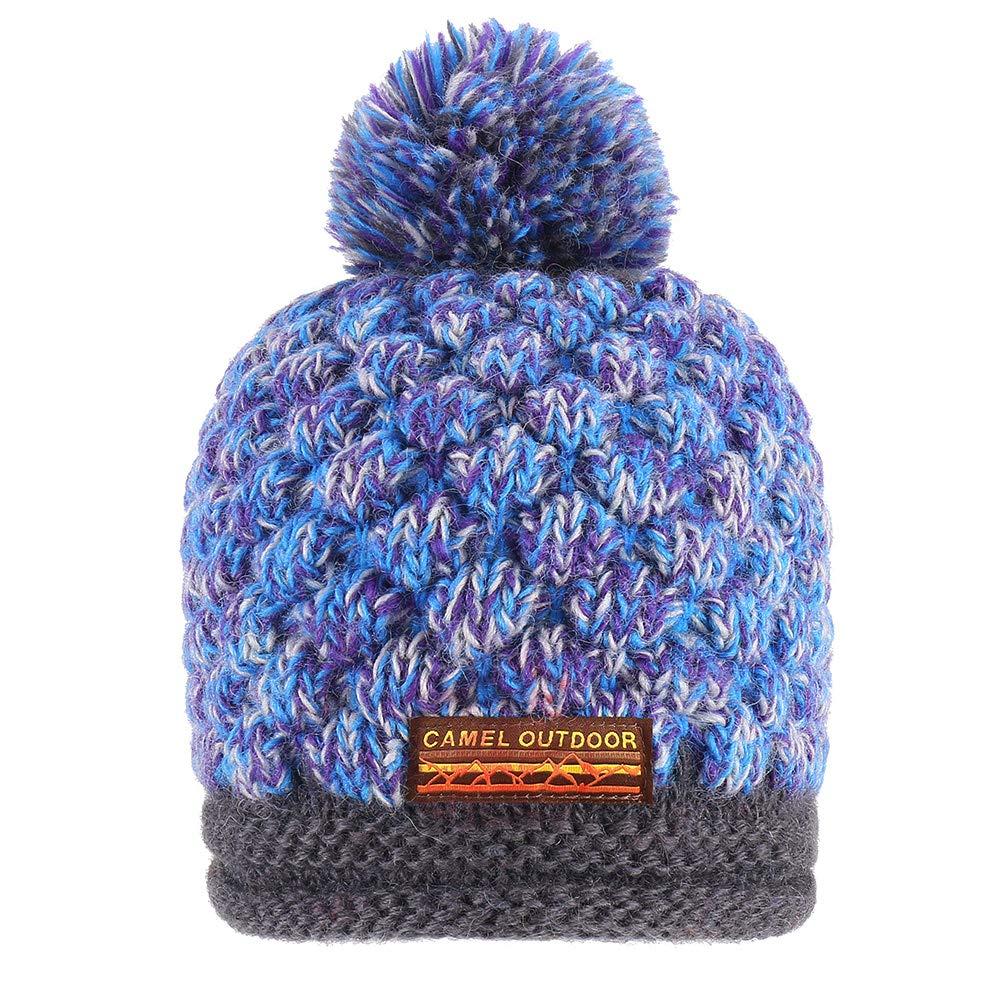 5964c4f8cb1 Camel Warm Soft Stretch Pompoms Beanie Hat Slouchy Cable Knit Beanie ...
