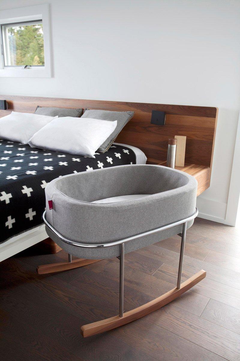 Monte Design Rockwell Bassinet Modern Heather Grey Basket