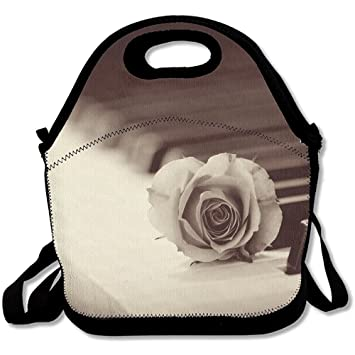 Starocle Rose Piano Wallpaper Elegant Multifunctional Lunch Tote Bag Carry Box