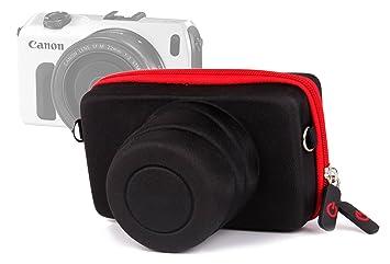 DURAGADGET Funda/Estuche Rígida para Canon EOS M   M10   M2 - Roja Y Negra - Cierre De Cremallera Y Banda para El Cinturón