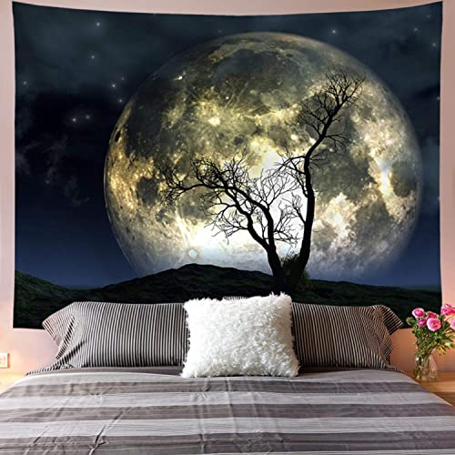 Galoker Moon Tapestry Galaxy Tapestry Tree Tapestry Starry Sky Tapestry Mystic Psychedelic Art Tapestry Wall Hanging for Home Decor H70.8 W92.5 inches