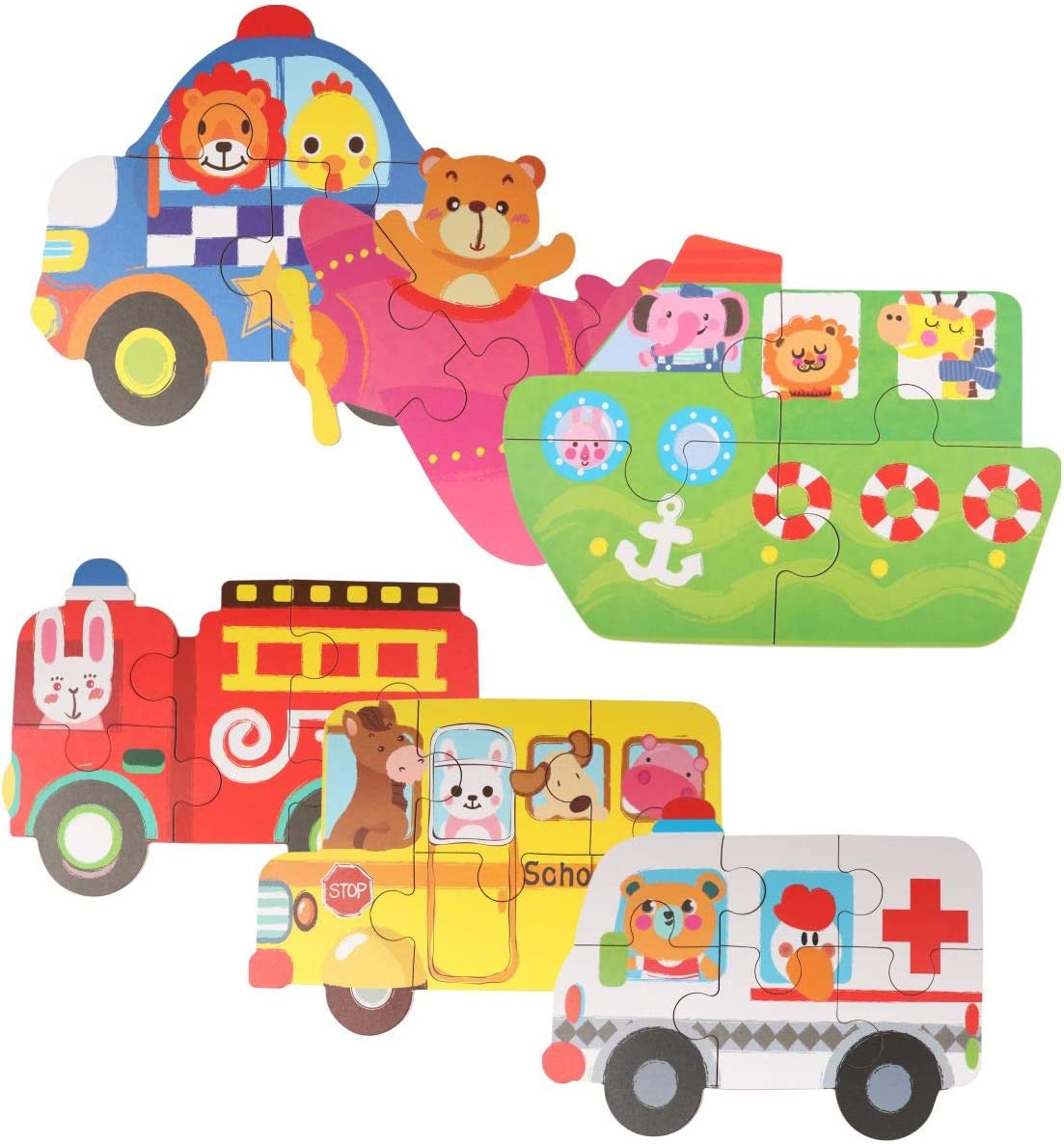 Animals-1 donado 6 in 1 Jigsaw Puzzles Set Educational Toddler Wooden Puzzles with Iron Box for Toddlers 2+