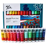 2 Pack (24 + 24) Mont Marte Acrylic Paint Set 24 Colours 36ml, Perfect for Canvas, Wood, Fabric, Leather, Cardboard, Paper, MDF and Crafts (Color: 24 Bright Colours, Tamaño: 2 PACK)