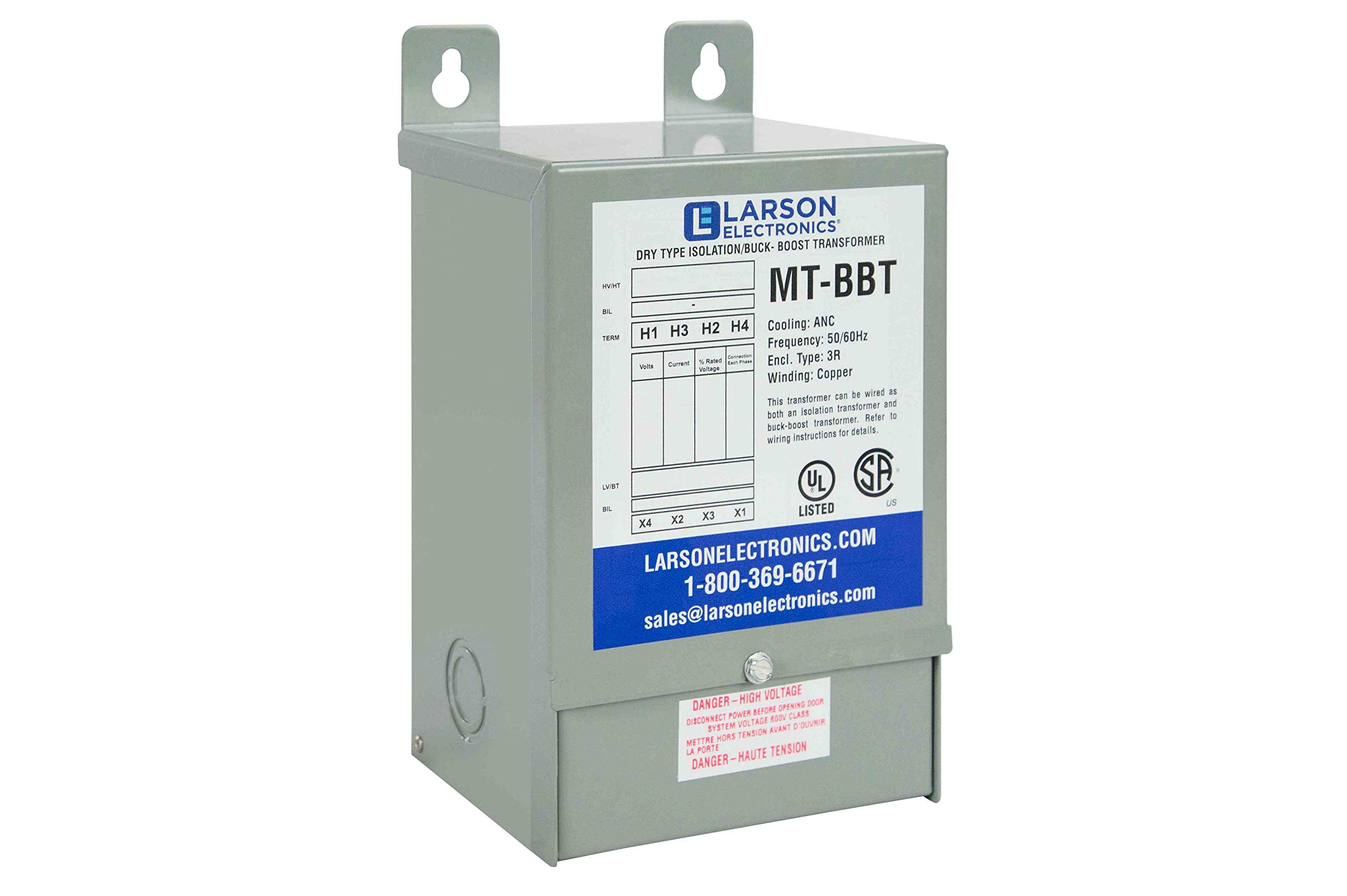 1-Phase Buck/Boost Step-Up Transformer - 208V Primary - 229V Secondary -31.2 Amps -50/60Hz by Larson Electronics