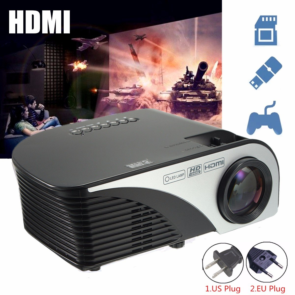 Beamer ELEGIANT Mini HD 1200 lumens LED Beamer Mini HD Multimedia ...