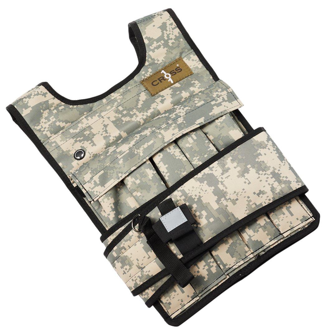 Cross 101 Adjustable Weighted Vest, 40 lbs (Camouflage) With Phone Pocket & Water bottle holder by CROSS101 (Image #1)