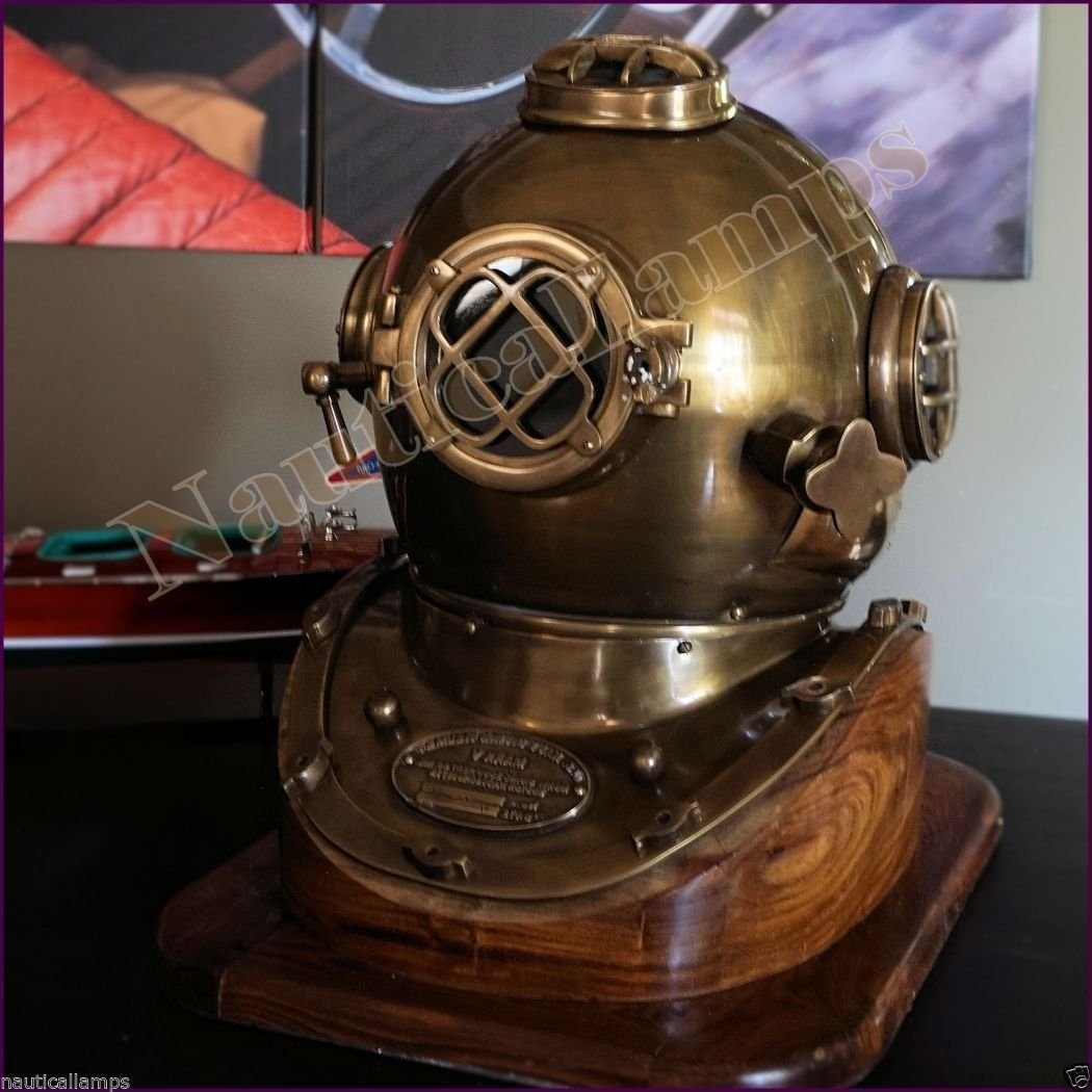 Antique Copper Brass Diving Divers Helmet Deep Sea Navy Diver Mark V 18'' w / Bas