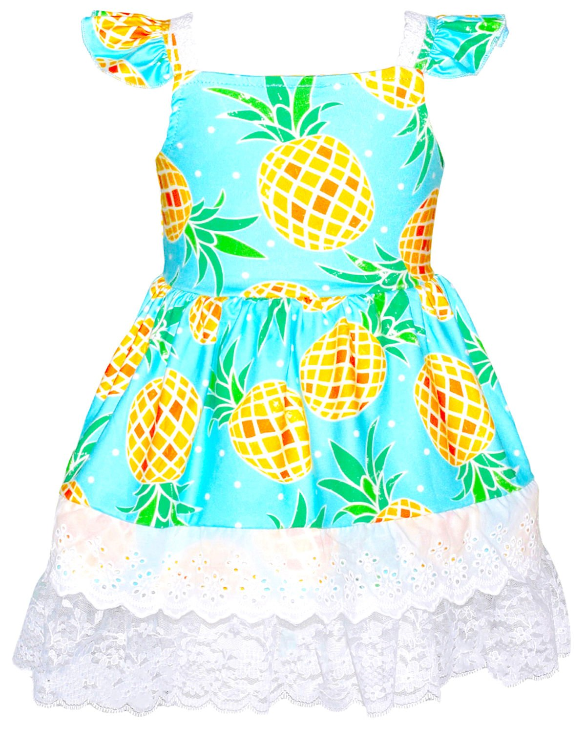 1945202dbc8 Unique Baby Girls Spring Summer Pineapple Dress with Trim (2T XS