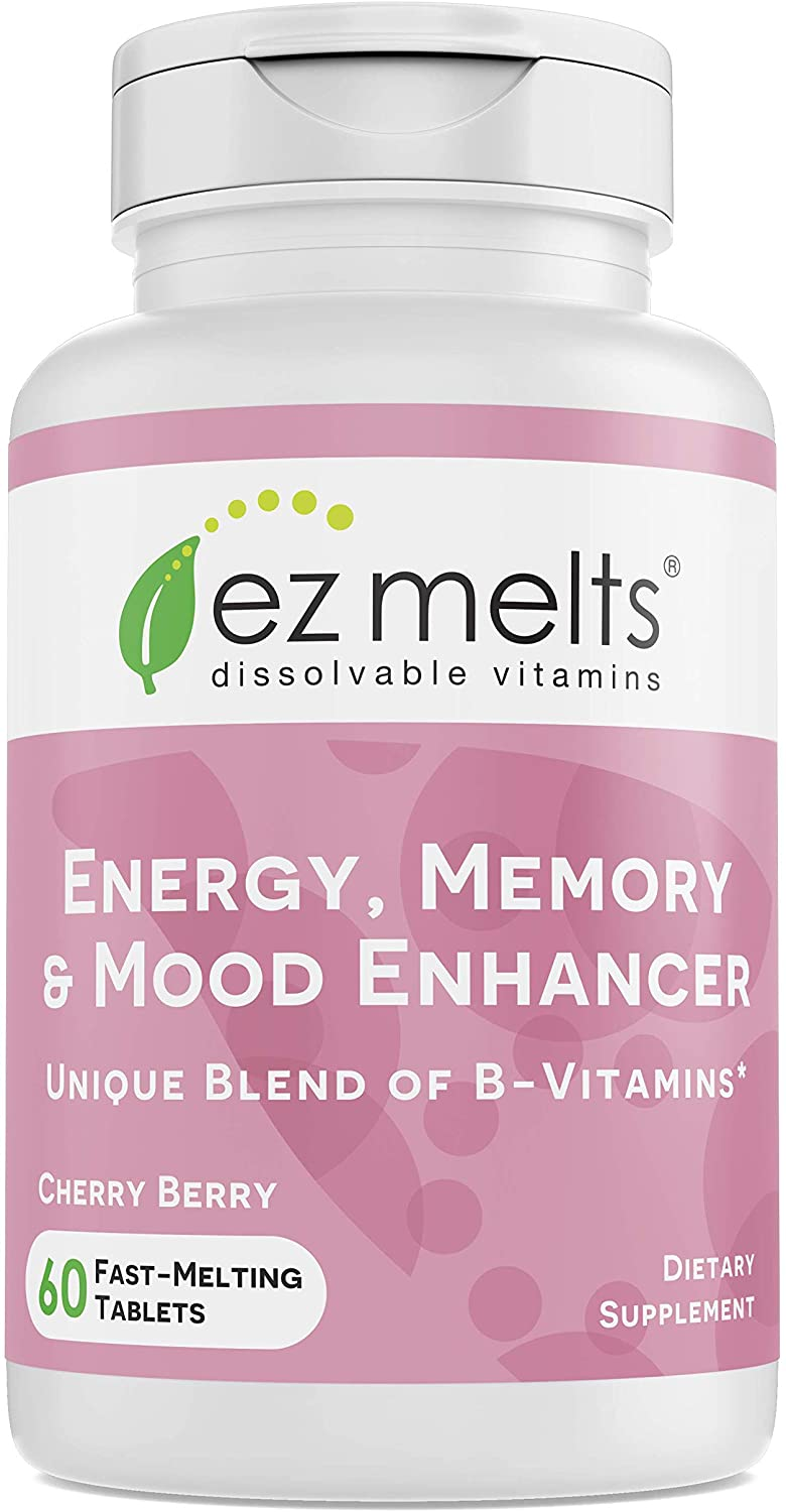 EZ Melts Energy Memory & Mood Enhancer, Methylated B-Complex, Sublingual Vitamins, Vegan, Zero Sugar, Natural Cherry Flavor, 60 Fast Dissolve Tablets: Health & Personal Care