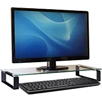 Carrara Computer Monitor Stand - Desk Shelf - Printer Stand - Monitor Riser for Home Office, Tempered Glass 10 x 24 Inches