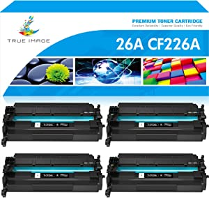 True Image Compatible Toner Cartridge Replacement for HP 26A CF226A 26X M426 Laserjet Pro M402n M402dw M402dn M402 MFP M426fdw M426fdn M426dw CF226X (Black, 4-Pack)