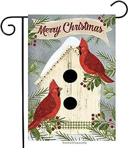"Briarwood Lane Christmas Cardinal Birdhouse Garden Flag Primitive Holiday 12.5"" x 18"""