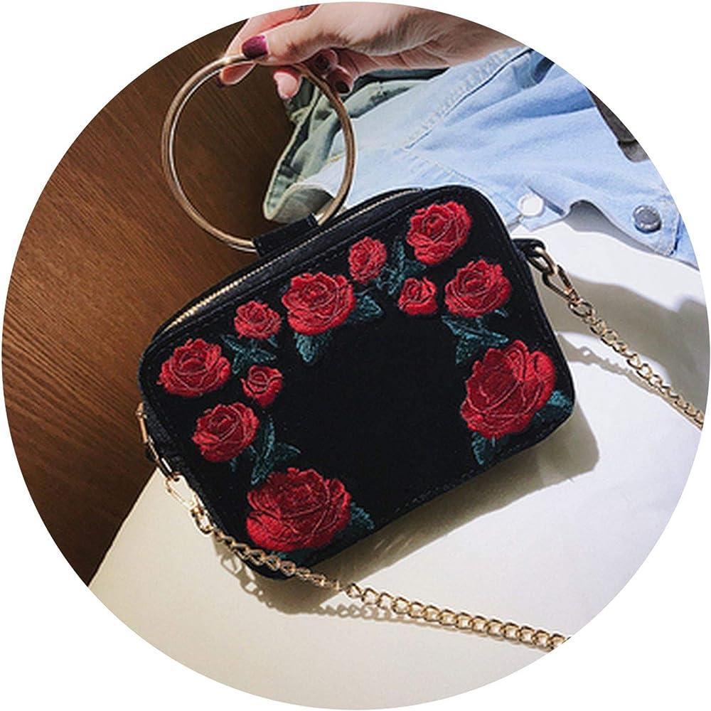 Velour Embroidery Rose ning Shoulder Bag Handle Purse Bolsas ...