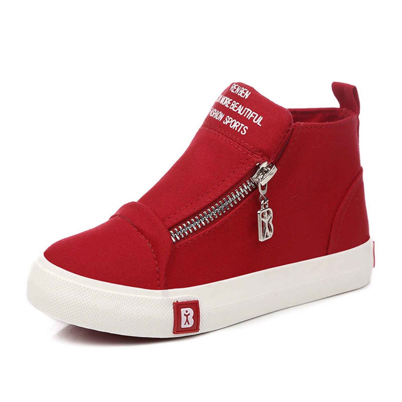 feilongzaitianba Children Canvas Shoes Girl Kids Shoes Boys Sneakers Spring Autumn Children High Casual Shoes Zip