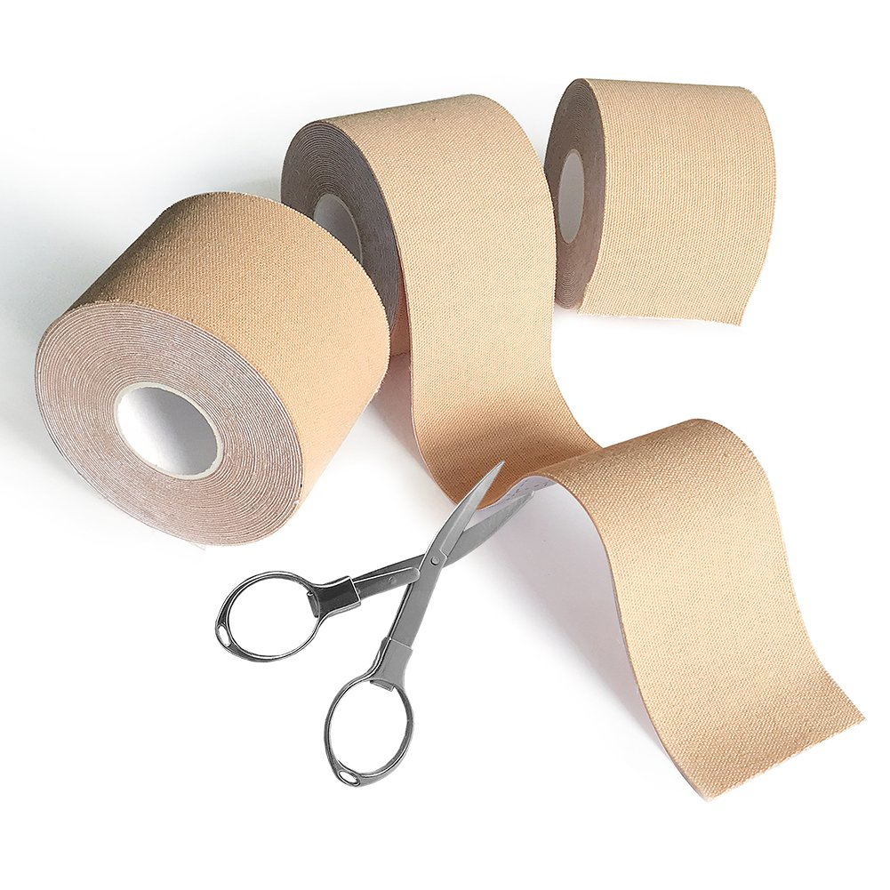 Viewm Kinesiology Tape Bulk Pack of 3, Elastic Waterproof Therapeutic Sports Tapes for Muscle Support, Beige 2'' x 16.5 feet Each Roll (Folding Scissors Included)