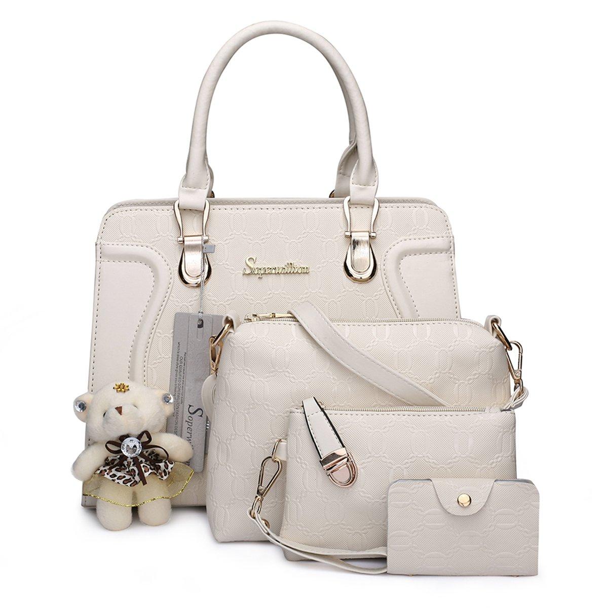 7975735c19 Amazon.com  Soperwillton Handbag for Women Tote Bag Shoulder Bags Satchel  4pcs Purse Set  Shoes