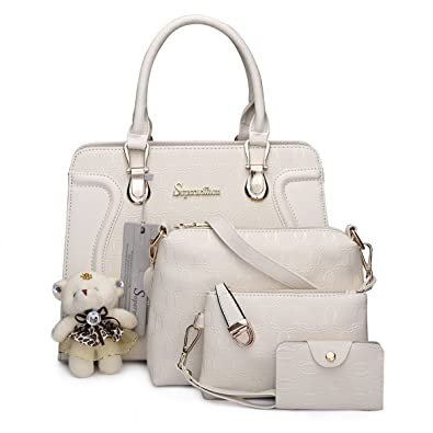 eb8dc61256f2 Amazon.com  Soperwillton Handbag for Women Tote Bag Shoulder Bags Satchel  4pcs Purse Set  Shoes
