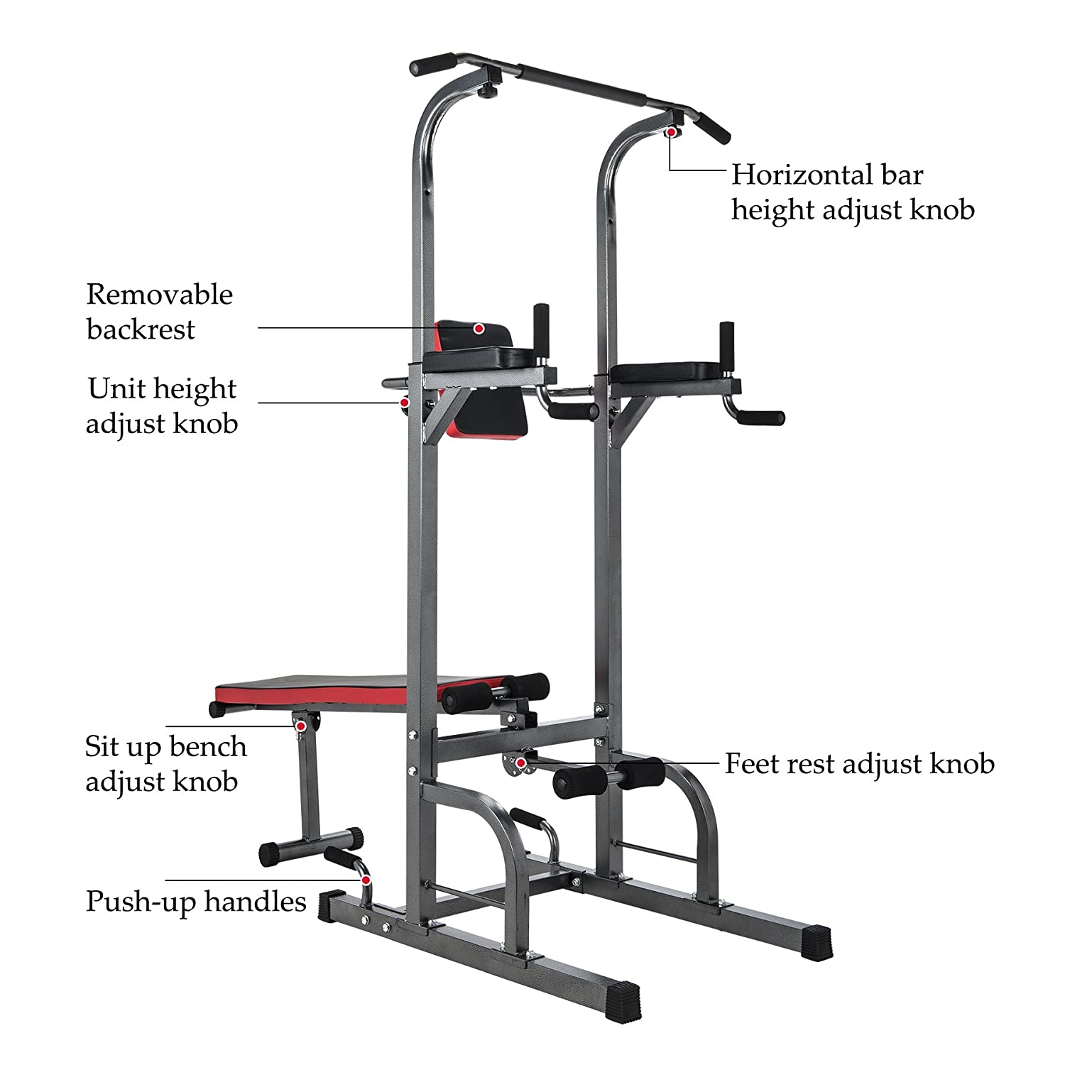 ZELUS Multifunctional Power Tower Workout Pull Up Dip Station Adjustable Height Pull Up Bar Station Tower w Sit up Bench for Indoor Home Gym Fitness Dip Stand