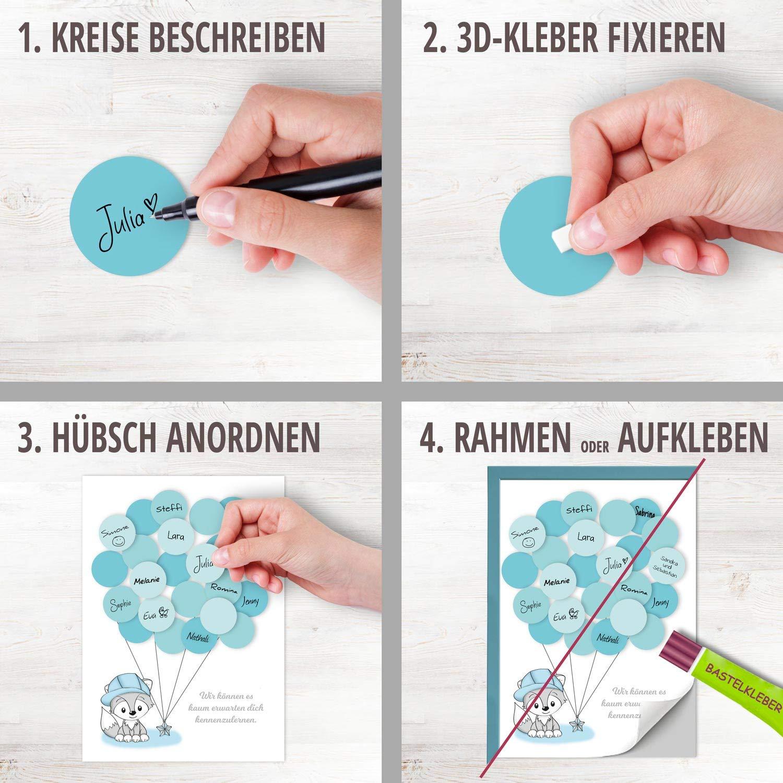 Babyparty Geschenk blau Fuchs Baby Andenken Gl/ückw/ünsche junge Erinnerungsst/ück Idee Baby Shower Gastgeschenk Deko Fingerabdruck