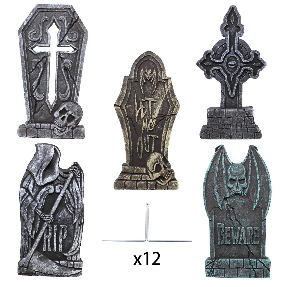 Tabletop Tombstones Mini Desk Top Tomb Stone Grave Marker Halloween RIP Gray 2
