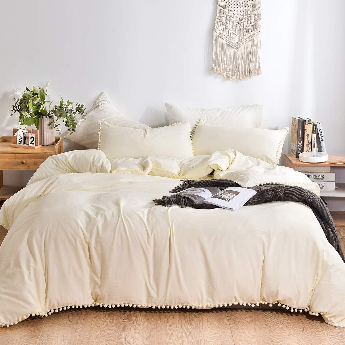 3 Pcs Set Duvet Cover Pillowcase Cotton Balls Simple Home Decor Twin Queen King