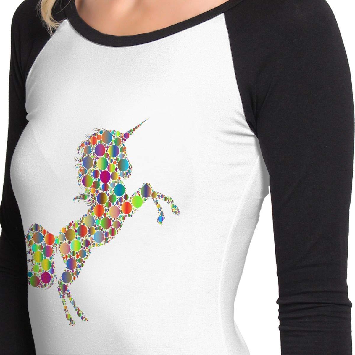 Rainbow Unicorn Womens Crew Neck Long Sleeve Tops Baseball T-Shirts